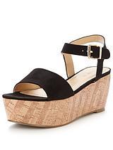 Ridge Cork Wedge Sandal Flatform