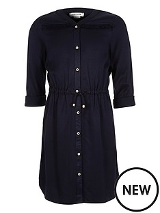 river-island-girls-navy-fringed-shirt-dress