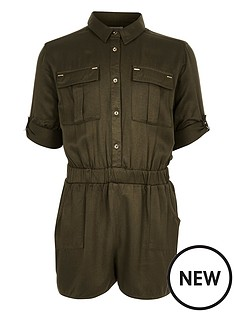 river-island-girls-dark-green-minimal-playsuit