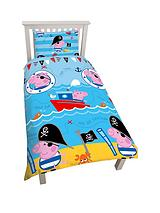 Peppa Pig Pirate Reversible Single Size Duvet Cover and Pillowcase Set