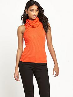 river-island-ribbed-cowl-neck-top