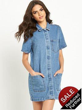 vila-logy-short-sleeve-denim-tunic-dressnbsp