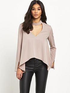 lavish-alice-keyhole-high-neck-draped-sleeve-top