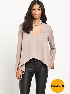 lavish-alice-keyhole-high-neck-draped-sleeve-top