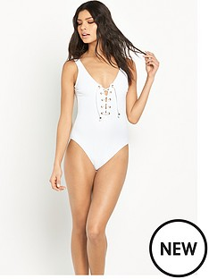 v-by-very-lace-up-textured-swimsuit