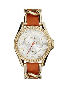 fossil-fossil-riley-multifunction-gold-tone-tan-strap-ladies-watch