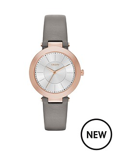 dkny-dkny-stanhope-20-grey-leather-strap-rose-gold-dial-ladies-watch