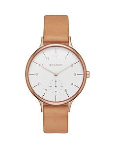 skagen-skagen-anita-light-brown-leather-strap-ladies-watch