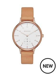 skagen-skagen-anita-light-brown-leather-strap-ladies-watch