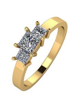 moissanite-9ct-gold-1-carat-princess-cut-trilogy-ring