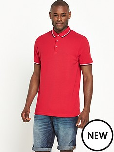 v-by-very-short-sleeve-solid-tipped-polo