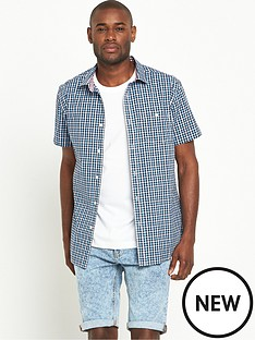 v-by-very-short-sleeve-gingham-shirt