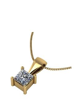 moissanite-9ct-gold-60-point-princess-cut-solitaire-pendant
