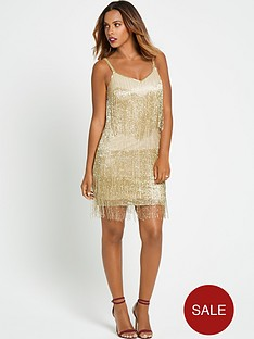 rochelle-humes-fringe-beaded-mini-dress