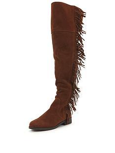 miss-selfridge-miss-selfridge-fringe-over-the-knee-boot