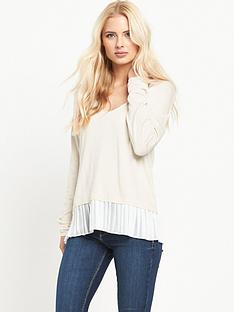 miss-selfridge-v-neck-pleat-2-in-1-jumper
