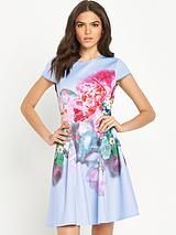 Focus Bouquet Neoprene Skater Dress