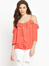Cold Shoulder Ruffle Strappy Blouse