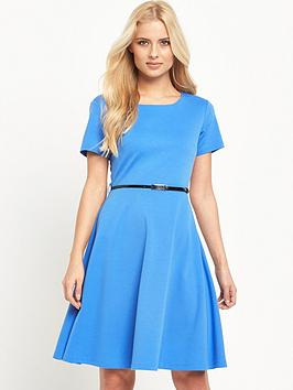 v-by-very-petite-ponte-fit-and-flare-dress