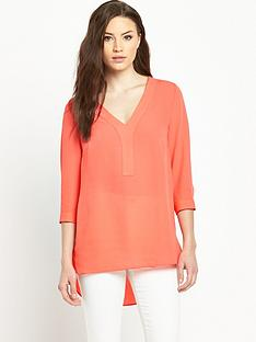 v-by-very-tie-sleeve-v-neck-utility-blouse