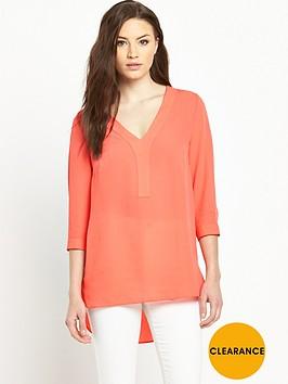 v-by-very-tie-sleeve-v-neck-utility-blouse