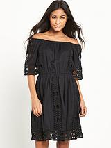MISS SELFRIDGE BLACK BARDOT LACE DRESS