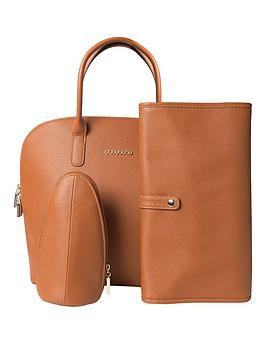 babybeau-charlie-round-tan-changing-bag