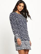 Texture Print Puff Sleeve Dress