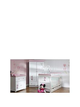 Minnie Mouse Love Minnie Cot Bed Under Drawer Double Wardrobe And DresserChanger