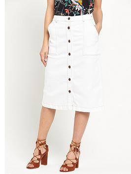 warehouse-button-detail-midi-skirt
