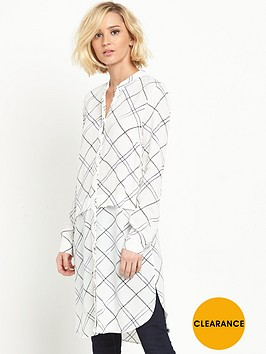 warehouse-check-longline-shirt-dress