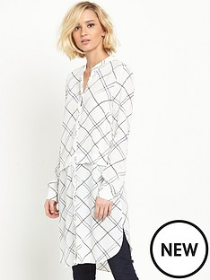 warehouse-warehouse-check-long-line-shirt-dress