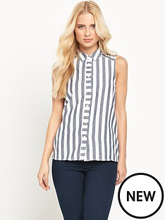 warehouse-sleeveless-stripe-shirtnbsp
