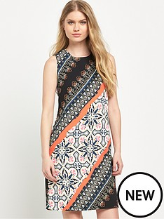 warehouse-latina-striped-printed-shift-dress