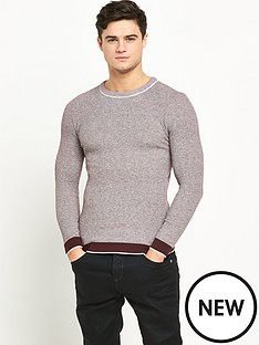 river-island-slim-textured-crew-neck-jumper