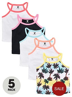 v-by-very-girls-palm-print-ribbed-vests-5-pack