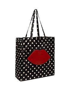 lulu-guinness-polka-dot-lip-foldaway-shopper