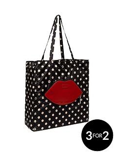 lulu-guinness-polka-dot-lip-foldaway-shopper