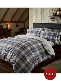 brushed-cotton-tartan-duvet-set-blue