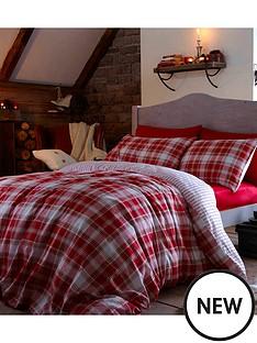 brushed-cotton-tartan-duvet-set-red