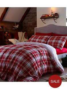 brushed-cotton-tartan-duvet-set-red