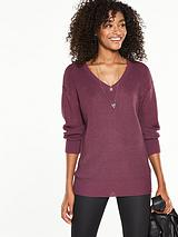 V Front and Back Slouchy Rib Jumper