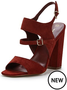 warehouse-suede-buckle-heeled-shoe