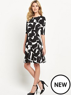 wallis-mono-satin-fit-and-flare-dress