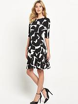 WALLIS MONO SATIN FIT AND FLARE DRESS