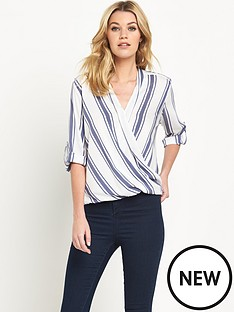 wallis-wallis-stripe-wrap-blouse