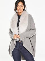 Cocoon Cardigan With Removable Faux Fur Collar