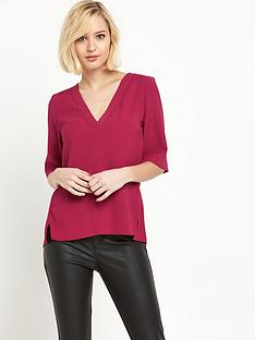 river-island-short-sleeve-v-neck-blouse