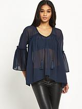 Long Sleeve Sheer Tassel Blouse