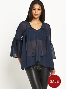 river-island-long-sleeve-sheer-tassel-blouse